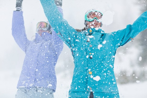 These ladies are celebrating the fresh snow that blanketed Mammoth Mountain over the past 24 hours. Photo by Mammoth Mountain