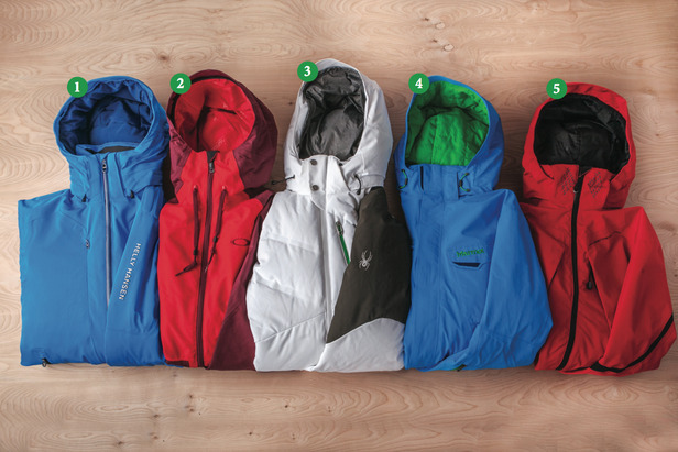 Men's Insulated Jackets: 1) Helly Hansen Enigma Jacket; 2) Oakley Originate Jacket; 3) Spyder Rocket Jacket; 4) Marmot LZ Jacket; 5) Obermeyer Ketchikan Cocona Jacket - ©Julia Vandenoever