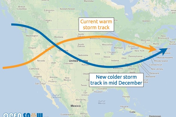 A colder storm track will take shape toward the middle of December which should promise colder air and consistent snow for many locations of the Rockies.