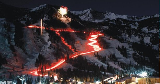 Snowbird's annual Torchlight Parade descends down the mountain on Christmas Eve