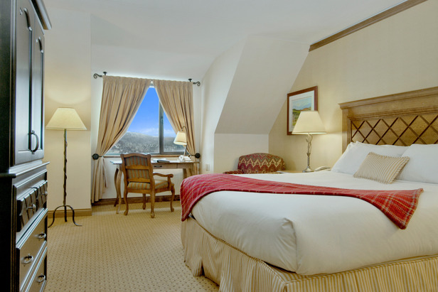 Enjoy mountain views outside your room at the Fairmont Tremblant.