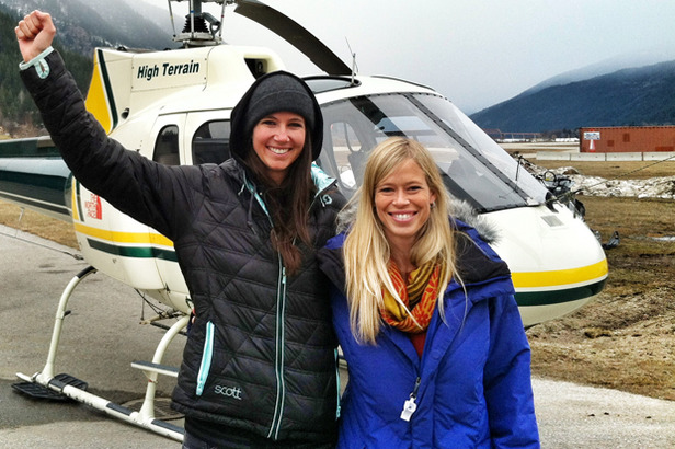 Meg and fellow U.S. Ski Team Athlete Kristi Leskinen prepare to board the helicopter that will whisk them away to Baldface Lodge. - ©Matt Jay