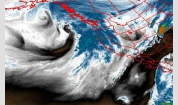 A storm moves toward the west coast from the Pacific Ocean.