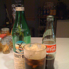 Fernet Branca and Coca Cola