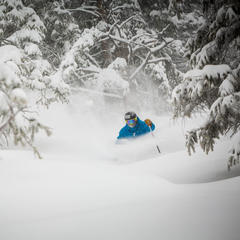 TJ David on another Aspen Mountain Powder Day.