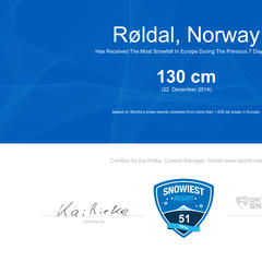 Najbardziej śnieżnym ośrodkiem 51 tygodnia został norweski Roldal - ©Skiinfo
