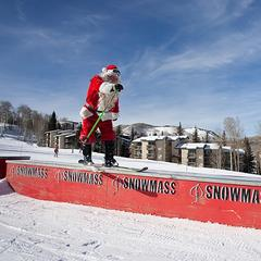 Snowmass CO Santa on a rail
