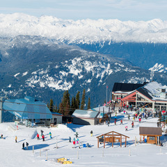 Views from Blackcomb Mountain span the PEAK2PEAK gondola and the Rendezvous Restaurant. Photo by Mike Crane. Courtesy of Tourism Whistler.