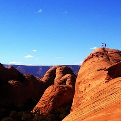 Dark red rock juxstaposed by a baby blue sky. Moab at its finest. Photo by Aaron Garland.