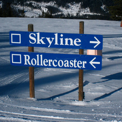 Skyline and Rollercoaster are buffed groomers at Panorama Mountain Village. Photo by Becky Lomax.