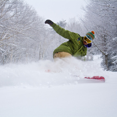 A snowboarder slashes a fresh layer of pow at Mount Snow. Photo Courtesy of Mount Snow.