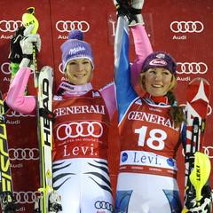Podium slalom dames, Levi 2012 - ©Agence Zoom