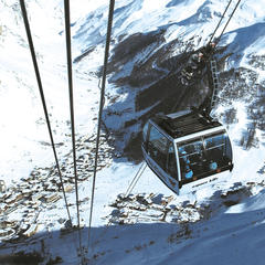 Taking the cable car up in Val d'Isere, Espace Killy ski area