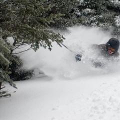 Deep powder turns at Cannon Mountain. 12/27/2012