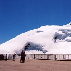 Il ghiacciaio di Saas Fee, Svizzera, nel periodo estivo