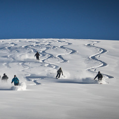 Group turns underneath the chopper at Tyax Lodge Heli-Skiing.