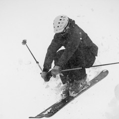 Eric Rasmussen airs off Alberta Peak at Wolf Creek.