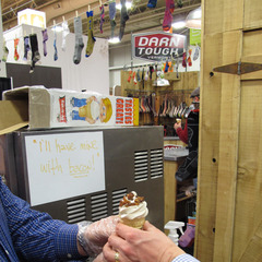 Darn Tough Vermont satisfied the sweet (and salty) tooth of many Winter OR attendees with cones of maple soft serve ice cream topped with bacon bits. Only in VT. - ©Dan Kasper