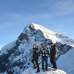 The Eiger provides quite the backdrop for Travis and his U.S. Ski Team cohorts.