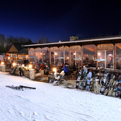 The Historic Stone Chalet is the locals favorite for apres ski at Granite Peak.
