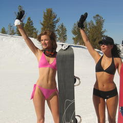 Spring in Heavenly brings sunshine and bikinis...and snowboarding.