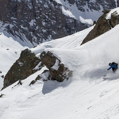 Steep, big-mountain powder lines are found all over Telluride. Skier: Greg Hope