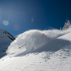 First day we shot this season, in early November after a big dump. The Baldy Shoulder was giving it up. - ©Lee Cohen