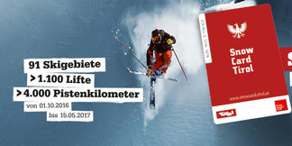 Snow Card Tirol - 91 lyžiarskych stredísk a 4 000 km zjazdoviek ©Snow Card Tirol