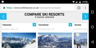 Ski resort compare tool: Side-by-side stats ©OnTheSnow