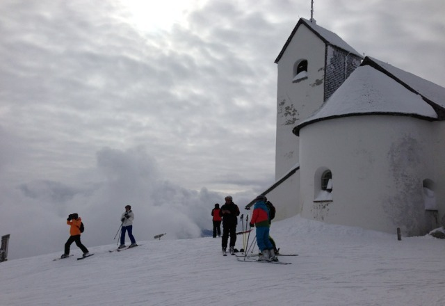 Mixed conditions, beautiful countryside and people. Top of Hohe Salve.