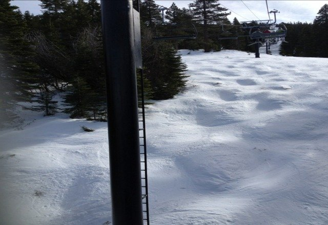 bare and hard on mogul runs. groomers are fun. parks are rad