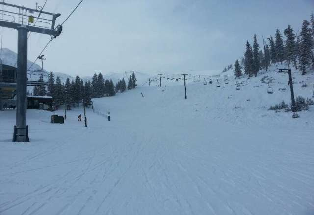 Some nice fluffy turns this morning. If snow and cold temps persist I heard that more terrain may be opening up soon. Pray for more snow!