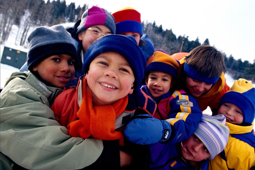 Kids take a photo at Park City Mountain Resort, Utah