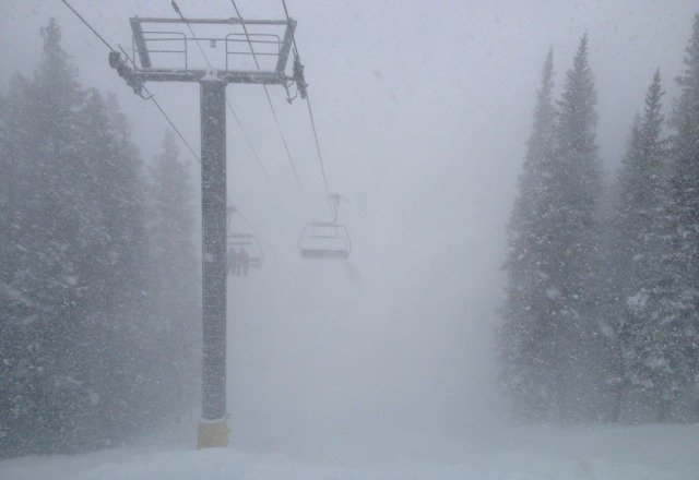 coming down hard. enough snow to pretty much straightline the moguls under timberline