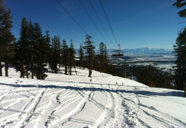 eagle at 10 this morning . bluebird day.  lots of heavy powder very thick and heavy to get through.