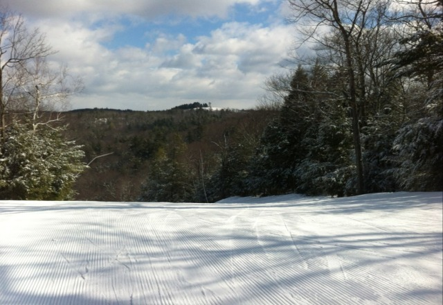 Fresh corduroy at 11:00 am. Incredible conditions, no people.