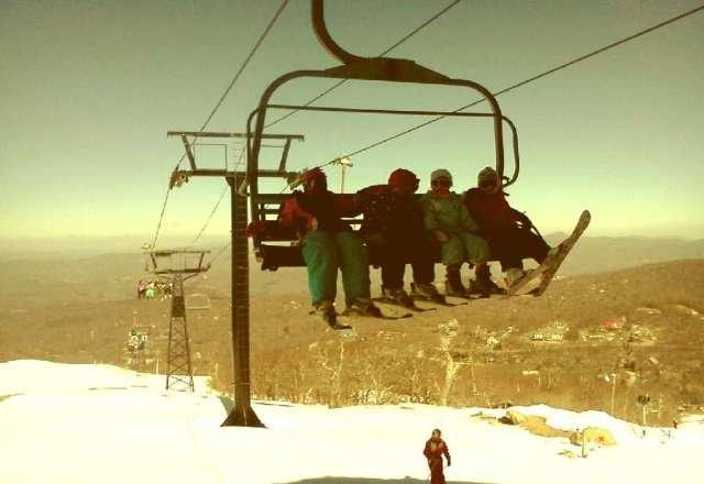 Perfect day!  Ski school class on quad.