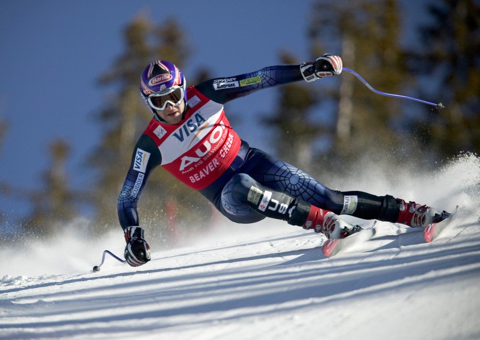Bode Miller competes in the World Cup Downhill race at Beaver Creek Resort, Colorado