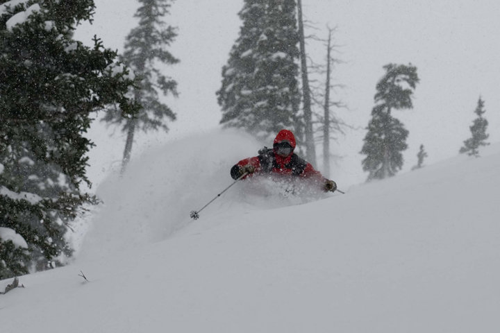 A skier finds powder in the backcountry of Sivlerton, Colorado