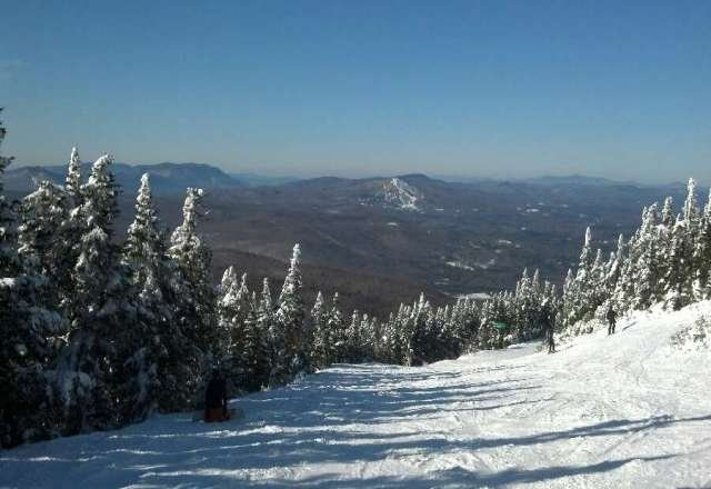 beautiful sunny day....quite warm (45F)..surface is a bit crusty. your falls might hurt. summit is nice and powdery