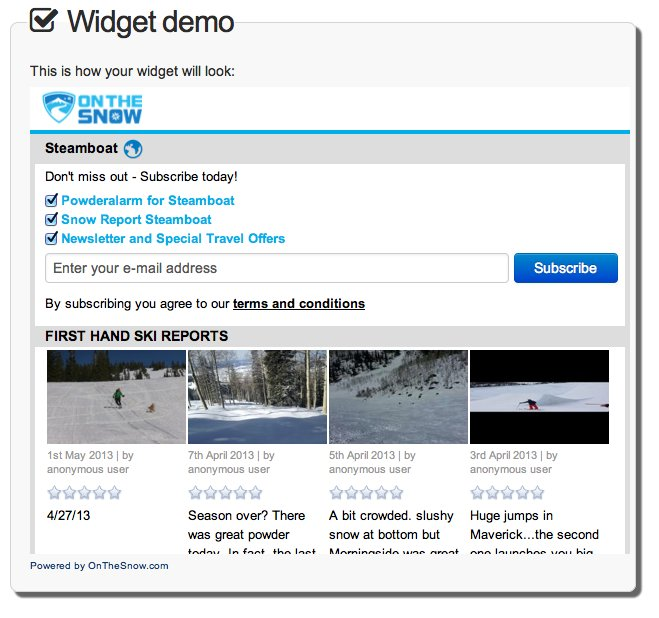 Snowreport email widget demo