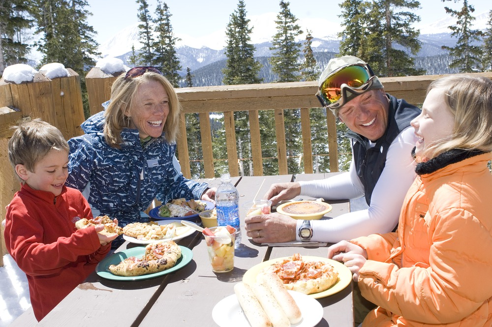 Family dining outdoors at Keystone, Colorado