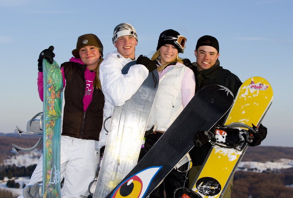 A young group of snowboarders at Shanty Creek, Michigan
