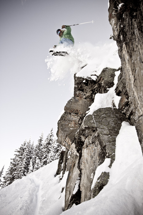 Wolf Creek has plenty of fun stuff to jump off.    Drew+powder+20 feet=fun.  Skier math. Photo by Liam Doran