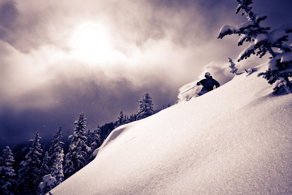 Bert Flores enjoys Taos's deep powder. Photo by Liam Doran