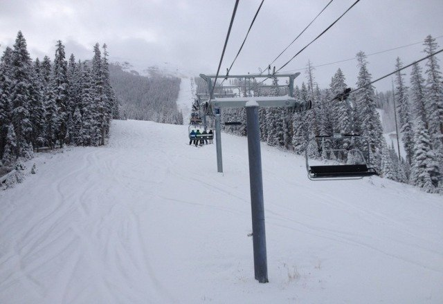 There was enough snow to ski the gladed areas all day on Sunday.