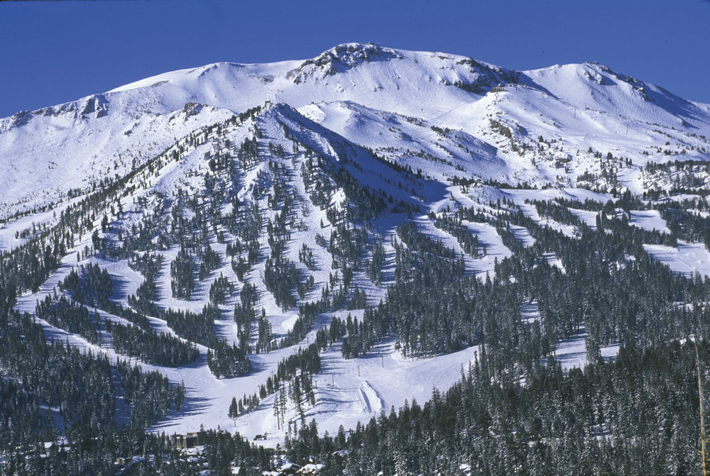 An aerial view of Mammoth Mountain, California