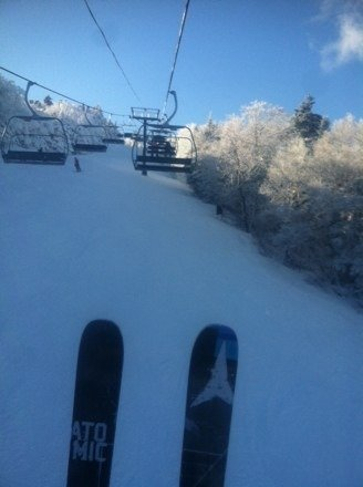Soo nice today at Killy!! Everything is covered in nice natural pow!
