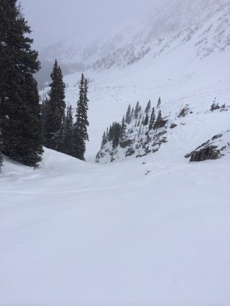 About an inch starting off no lines on falcon. So sweet. Reeeeaaaaallly soft. Coming back Sunday for more pow