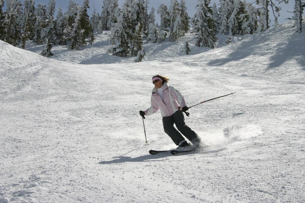 A skier cruises down the mountain at Mt. Baldy Ski Resort, California